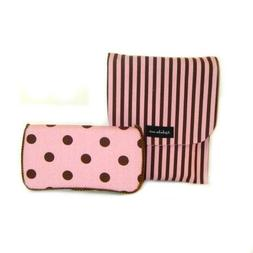 Pink and brown Diaper clutch and baby wipes case
