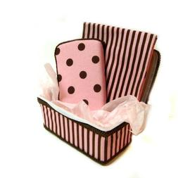 Pink And Brown Polka Dots And Stripes 3 Piece Set Baby Baske