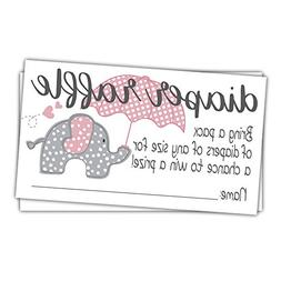 Pink Elephant Diaper Raffle Tickets  - Girl Baby Shower Game