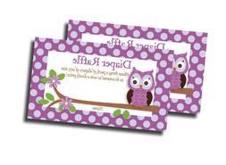 Purple Owl Printed Diaper Raffle Tickets Baby Shower