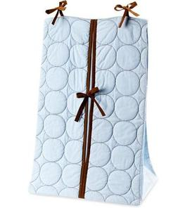 Bacati Quilted Circles Blue and Chocolate Diaper stcker