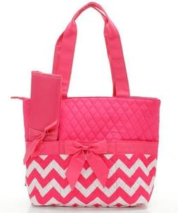 Quilted Monogram Ready Chevron Pattern Hot Pink 3 Piece Diap