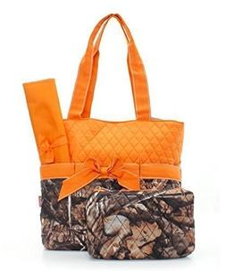 Quilted Orange And Natural Camo Print Monogrammable 3 Piece