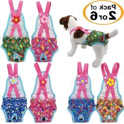 PACK 2 or 6 Female Dog Diapers Washable Reusable with Suspen