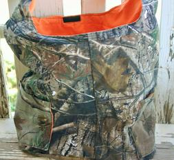 realtree and orange cotton diaper bag with adjustable strap