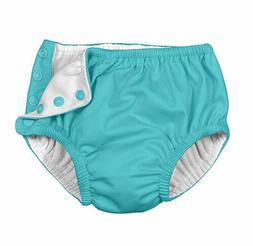 Charlie Banana Reusable Easy Snaps Swim Diaper - Blue - Medi