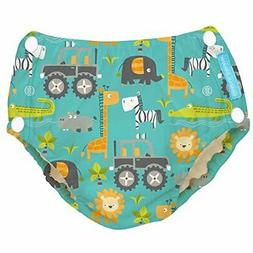 Charlie Banana Reusable Easy Snaps Swim Diaper, Gone Safari,