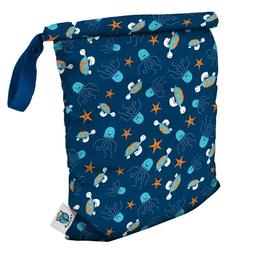 Planet Wise Roll Down Wet Diaper Bag, Navy Sea Friends, Larg