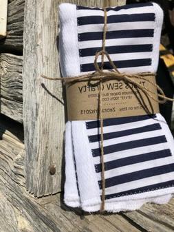 Set of 3 Baby Girl Boy Blue Anchor Cloth Diaper Burp Rags 10