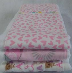 Set of 3 Baby Pink Cloth Diaper Burp Rags 100% Cotton and Fl