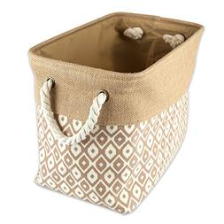 DII Collapsible Burlap Storage Basket or Bin with Durable Co