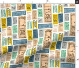 Subway Travel Typography Tickets Train Numbers Fabric Printe