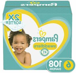 Pampers Swaddlers Disposable Baby Diapers Size 6, 108 Count