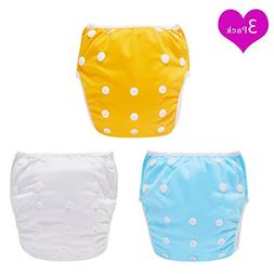 Swim Diapers, Pack of 3 Angel Love Baby Reusable Washable an