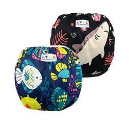 ALVABABY Baby Swim Diapers 2pcs One Size Reuseable & Adjusta