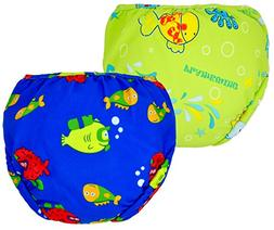 Swim Diapers 2pcs Adjustable and Reusable Swimpants for Baby