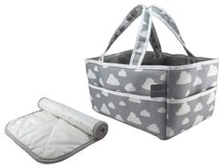 The Big Baby Bag - XL Diaper Caddy Gray Cloud Design with Fr