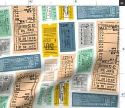 Travel Subway Typography Train Tickets Numbers Fabric Printe