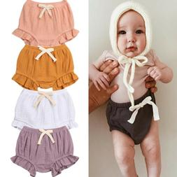 US Infant Baby Girl Cotton Ruffle Shorts PP Pants Nappy Diap
