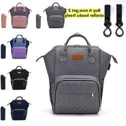 LEQUEEN USB Diaper Backpack Baby Nappy Bag With Stroller Hoo