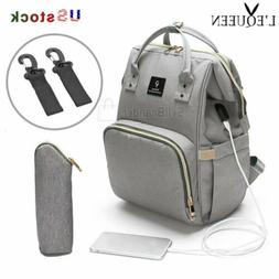 LEQUEEN USB Interface  Mom Diaper Bag Backpack Large Capacit