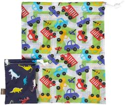 """Kushies """"On the Go"""" Wet Bags - Large Traffic & Small Dino"""