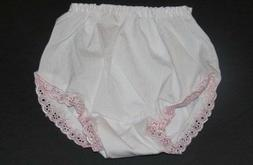 White & Pink Trimmed Eyelet Bloomers Diaper Cover  Newborn I