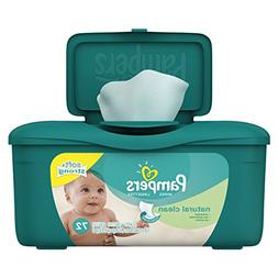 Pampers Natural Clean Unscented Water Baby Wipes Tub, 72 Cou