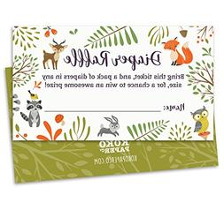 Woodland Diaper Raffle Tickets with Owl and Forest Animals.