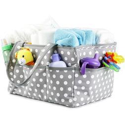 Baby Lina XL Diaper Caddy Gray w/White Polka Dots Gold Insid